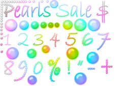 Free Set Of Pearl Figures And Signs Royalty Free Stock Image - 5927086