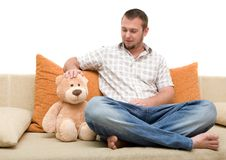 Free Man With Teddybear Royalty Free Stock Photos - 5928698
