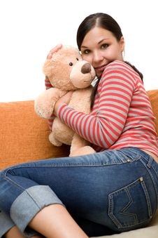 Free Woman With Teddybear Stock Image - 5928861