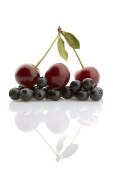 Cherries And Whortleberries, Isolated Stock Image