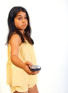 Free Girl With Remote Stock Image - 5929061