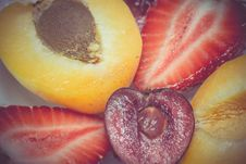 Free Retro Apricot Cherry And Strawberry Stock Images - 59251224