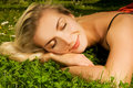 Free Girl Relaxing On A Meadow Stock Images - 5933424