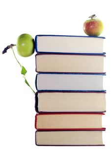 Free Apples On Stack Of Books Royalty Free Stock Photo - 5931645