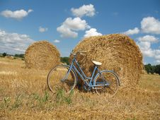 Classic Retro Bike With Hay Bales Stock Photo