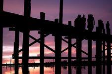 Free Myanmar, Amarapura, U Bein Bridge Royalty Free Stock Image - 5933466