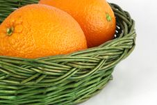 Free Oranges In The Wicker Basket Stock Image - 5934241