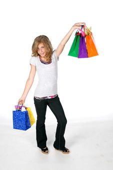 Free Pretty Girl With Shopping Bags Royalty Free Stock Image - 5936216