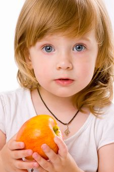 Free Close-up Of Pretty Girl Eating An Apple, Isolated Stock Photo - 5937070