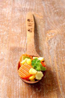 Free Vegetablesi On A Wooden Spoon Stock Photos - 5938183