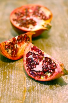 Broken Ripe Pomegranate Fruit And Seeds Stock Image