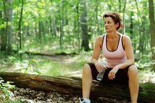 Free Mature Woman Runner Resting Royalty Free Stock Image - 5938196