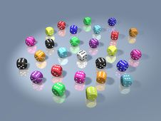 Free Group Of Dices All In Winning Combination Royalty Free Stock Photo - 5939535