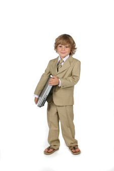 Free Young Boy In Suit With Laptop Stock Photos - 5943573