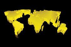3d Golden Map Stock Photo