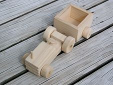 Free Wooden Toy Open Tractor With Cart Stock Photography - 5944892