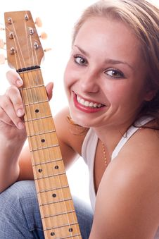 Free Beautiful Girl Posing With Guitar. 2 Royalty Free Stock Photography - 5948257