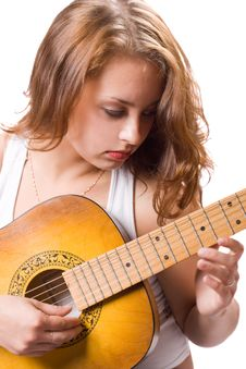 Free Beautiful Girl Playing Guitar. 3 Royalty Free Stock Image - 5948266