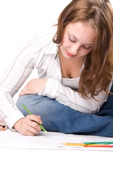 Beautiful Girl Is Drawing With Crayons. 5 Royalty Free Stock Image