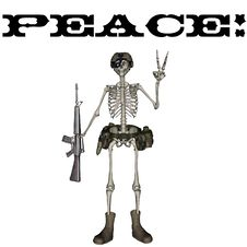 Free Peace Skeleton Royalty Free Stock Photo - 5949025