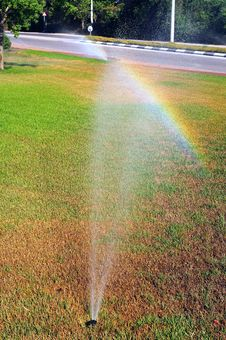 Rainbow On Lawn Stock Photography