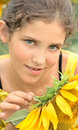 Free Beauty Teen Girl And Sunflower Stock Images - 5958484