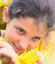 Free Smile Girl And Floral Petal Stock Image - 5958491