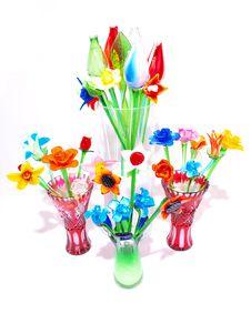 Free Crystal Flowers Vases Variety Royalty Free Stock Image - 5951696