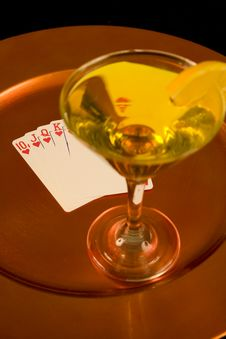 Yellow Cocktail And Royal Flush On Tray Stock Photography