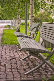 Benches In The Park Royalty Free Stock Images