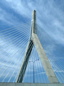 Free Cable Stay Bridge Wishbone And Clouds Royalty Free Stock Image - 5953056