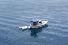 Boat In Blue Sea Royalty Free Stock Photo
