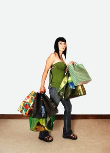 Free Girl Back From Shopping. Royalty Free Stock Images - 5953569