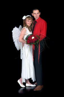 Young Happy Wedding Couple Stock Photography