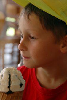 Free Boy Eating Ice Cream Cone Stock Photo - 5956170