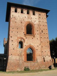 Castle Tower In Vigevano Stock Photo
