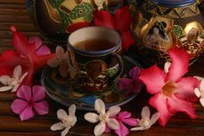 Tea Set With Tea And Flowers Royalty Free Stock Image