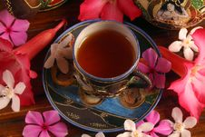 Tea Set With Tea And Flowers Royalty Free Stock Photography