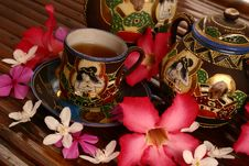 Tea Set With Tea And Flowers Royalty Free Stock Photos