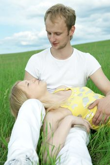 Free Man And Woman In Green Field Stock Photos - 5957923
