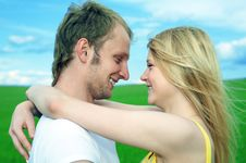 Free Young Love Couple Embrace In Field Stock Photography - 5958012