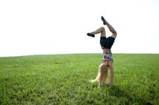 Happy Beauty Young Woman Jump In Field Stock Image