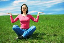 Woman In Field Hold Hand Palm Up Royalty Free Stock Photography