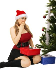 Mrs Santa Surprised Stock Images