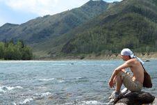 Man At The River Royalty Free Stock Photos