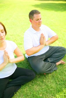 Free Young Couple Meditate In Park Stock Photo - 5958340