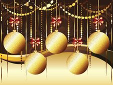 Decorative Gold Xmas Balls Royalty Free Stock Images