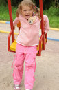 Free Young Pretty Girl On A Swing Stock Photo - 5960810