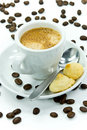 Free Espresso And Coffee Beans On The White Background Royalty Free Stock Photo - 5961305