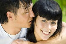 A Young Couple In The Park Royalty Free Stock Photography